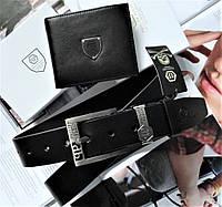 Мужской подарочный набор Philipp Plein - кожаный ремень и кошелек black