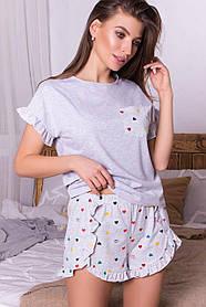 Пижама для дома и отдыха хлопковая футболка и шорты, размер S, M, L, XL