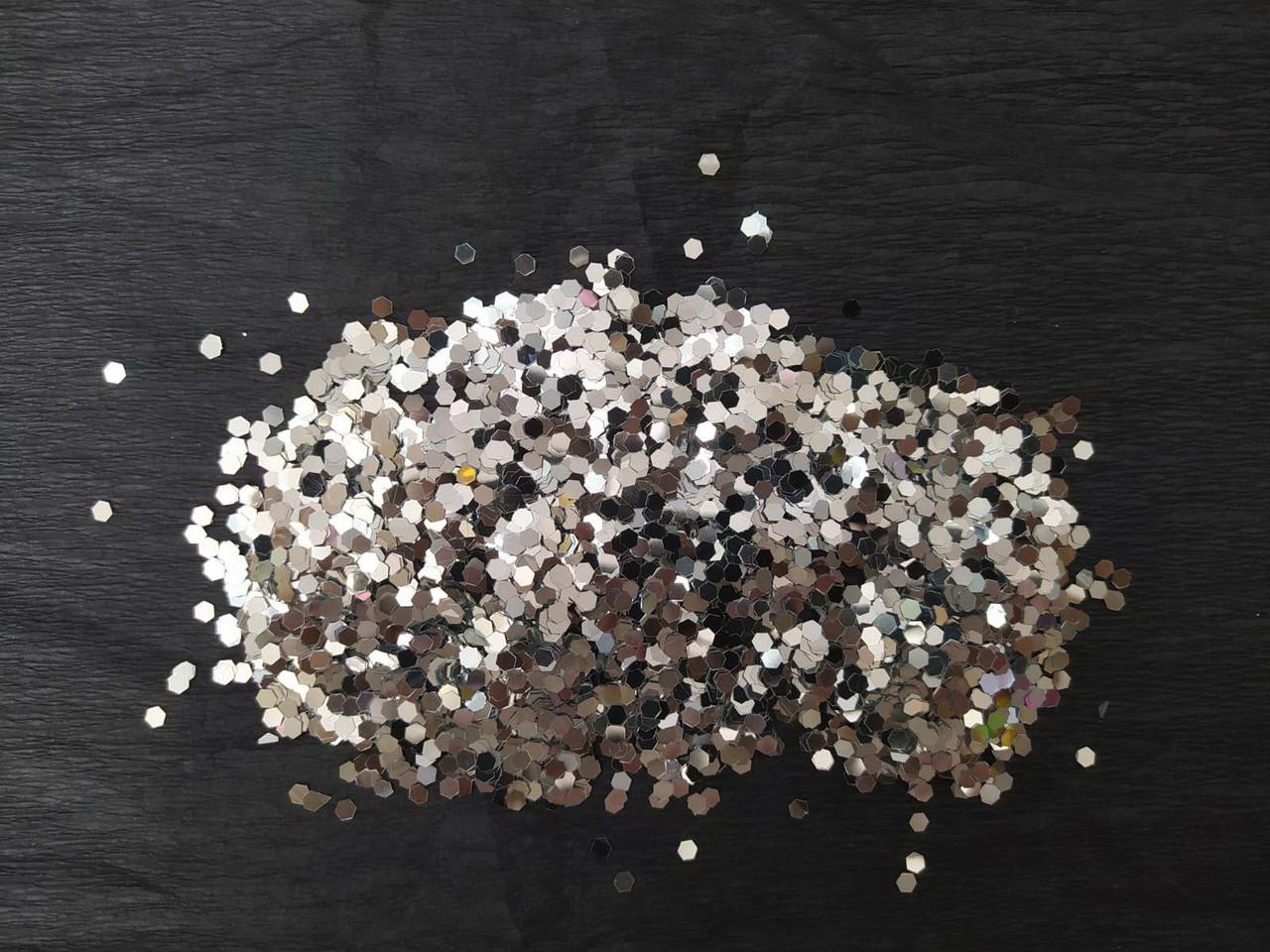 Аксесуари для свята конфеті лусочки срібло 100грам