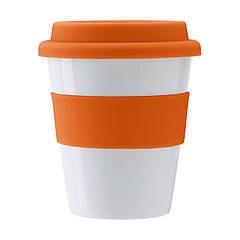 Пластиковий стакан з силіконовою кришкою, 350 мл (помаранчевий, Ø9,4 x 11,2 см)