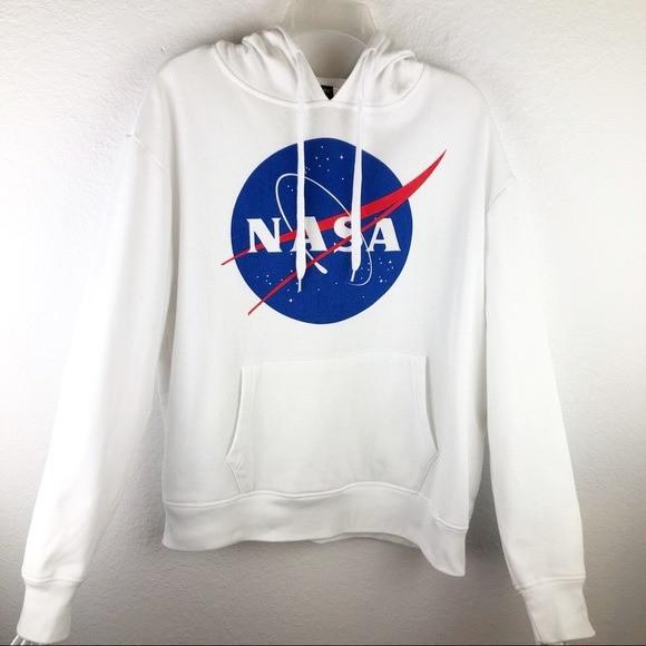 Худи NASA Mister Tee Hood белое с логотипом, унисекс (мужское, женское, детское)