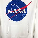 Худи NASA Mister Tee Hood белое с логотипом, унисекс (мужское, женское, детское), фото 3