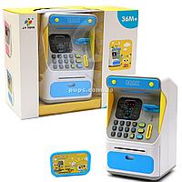Игрушка копилка Банкомат, JY Toys, голубой, 16х14х26 см (7010A). Сейф с кодом