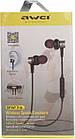 Наушники Bluetooth AWEI B923BL спортивные вакуумные беспроводные, стерео гарнитура спортивная black, фото 6