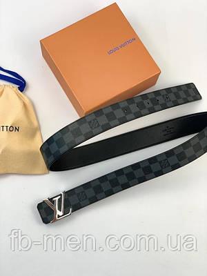 Ремень Louis Vuitton серого цвета серебристая пряжка|Мужской женский ремень Луи Виттон серого цвета кожаный