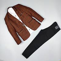 Костюм тройка пиджак в клетку рубашка узкие брюки оптом для мальчика 5-9 лет Турция 483-15 Кирпичный