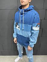 Синий джинсовый анорак мужской оверсайз демисезонный с принтом Мики Мауса джинсовка мужская синяя с капюшоном