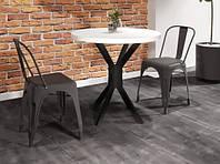 Стол кухонный круглый, стол в кафе в стиле лофт с металлическим основанием Фолд Металл-Дизайн D-80см