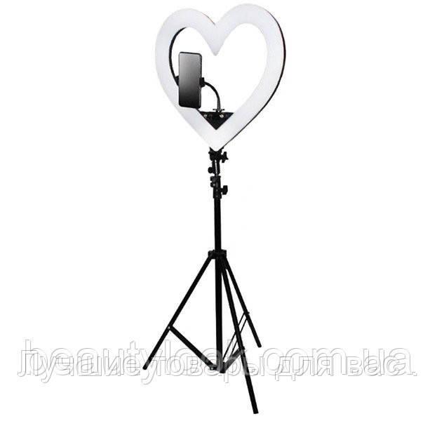Кольцевая лампа на штативе  2,1 м . « Чёрное сердце » 48 см . d 18
