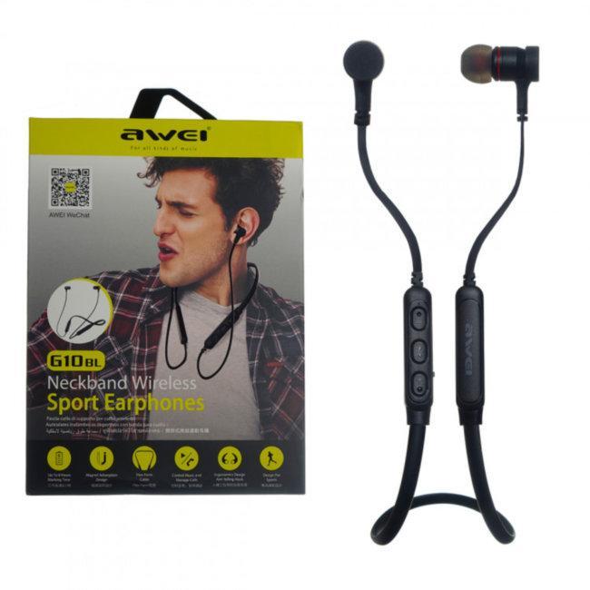 Bluetooth наушники гарнитура спортивные AWEI G10BL вакуумные беспроводные, спорт-дуга black