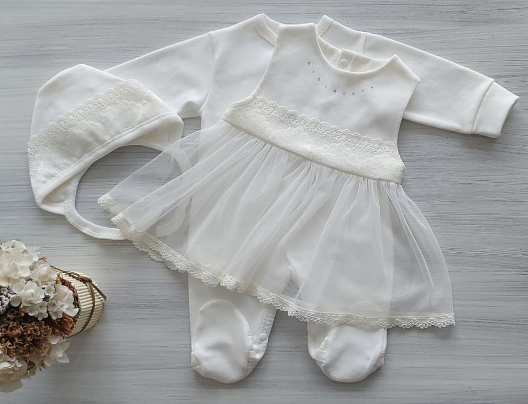 """Комплект для новорожденной девочки """"Диадема"""" (3 предмета) молочный интерлок ТМ Наррy ToT р.56,62,68"""
