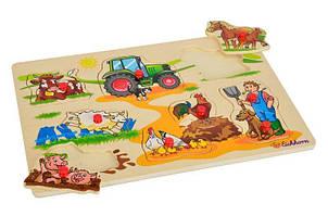 Деревянная игрушка Рамка-вкладыш MD 2686-2 (Ферма) с ручкой