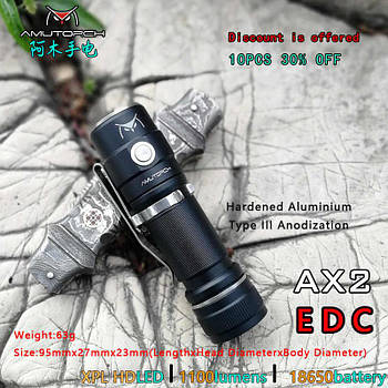 Брендовый Фонарь Amutorch AX2 (1100LM, 6500k, XPL HD led, IPX8, 5 режимов, аккумулятор 18650 в комплекте)