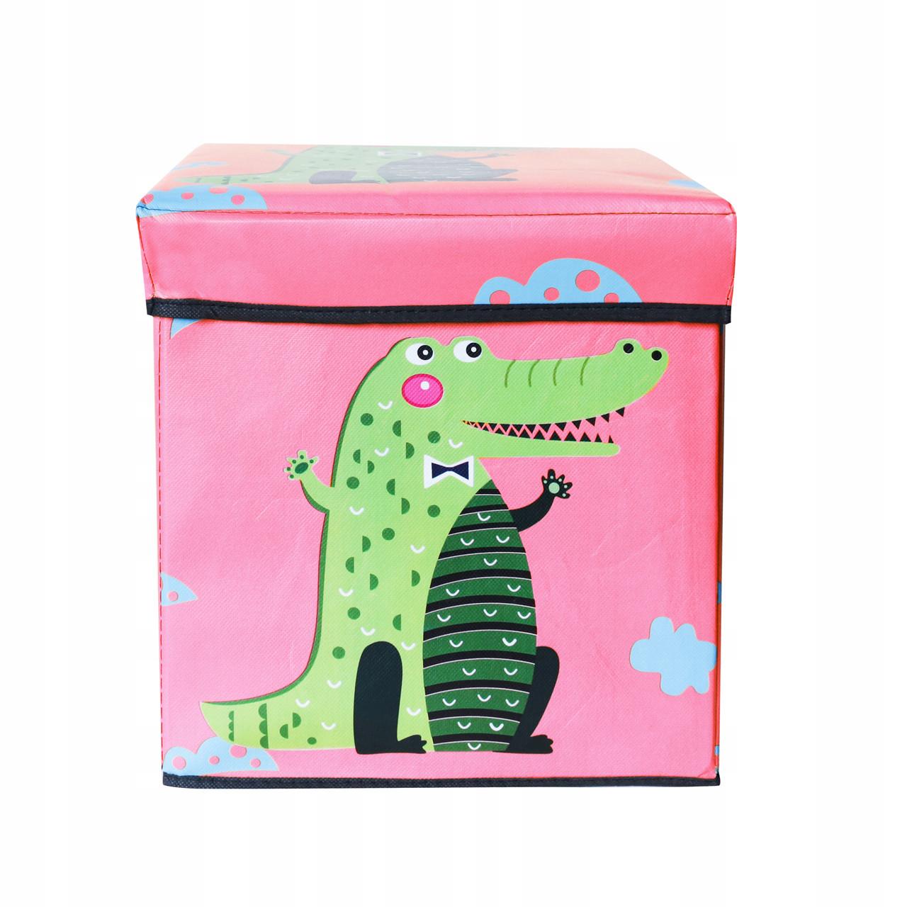 Корзина для игрушек MR 0364-1(Pink) (Крокодил) ящик, пуф, 31-31-31см