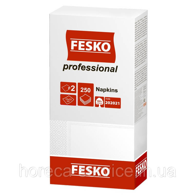 Серветки банкетні FESKO Professional 33х33 білі 1/8 складання 250 шт.