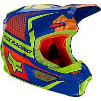Детский мотошлем Fox Yth V1 Oktiv синий/красный/желтый, YS