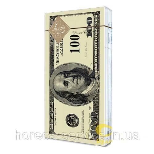 Салфетки банкетные LUXY трехслойные расцветка-Доллар 10 шт.