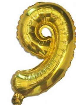"Кулька повітр. ""Цифра-9"" 35 см золото фольга(20)"