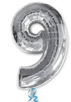 """Кулька повітр. """"Цифра-9"""" 15 см срібло фольга(20)"""