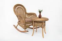 Kompred Кресло качалка с приставным столиком Виктория Kompred, светло-коричневый, kk0015