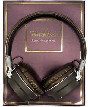 Навушники AZ-005 (bluetooth+stereo+mp3 player+гарнітура) brown безпровідні