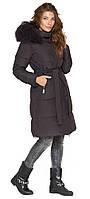 Женская графитовая куртка зимняя с оригинальной меховой опушкой модель 085