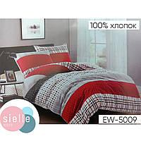 Полуторный комплект постельного белья из сатина. Постельное белье из сатина, цветные полоски EW5009