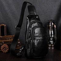 Классическая мужская сумка бананка на грудь барсетка на плечо кросс боди черная экокожа