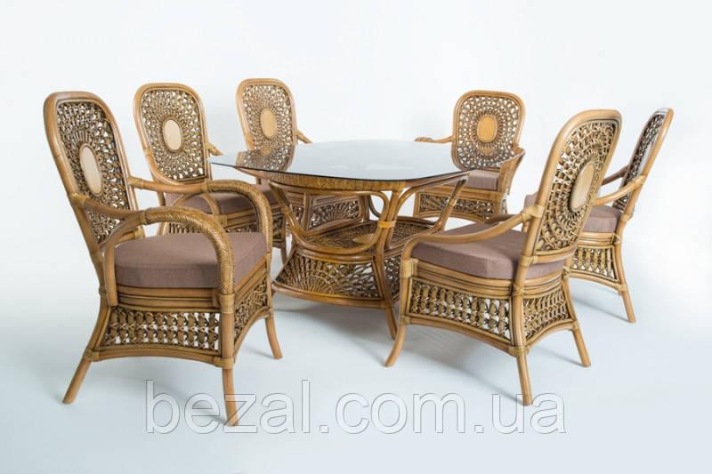 Обеденный комплект Ацтека  светло-коричневый (стол + 6 кресел), ok0028