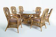 CRUZO Обеденный комплект Ацтека CRUZO светло-коричневый (стол + 6 кресел), ok0028