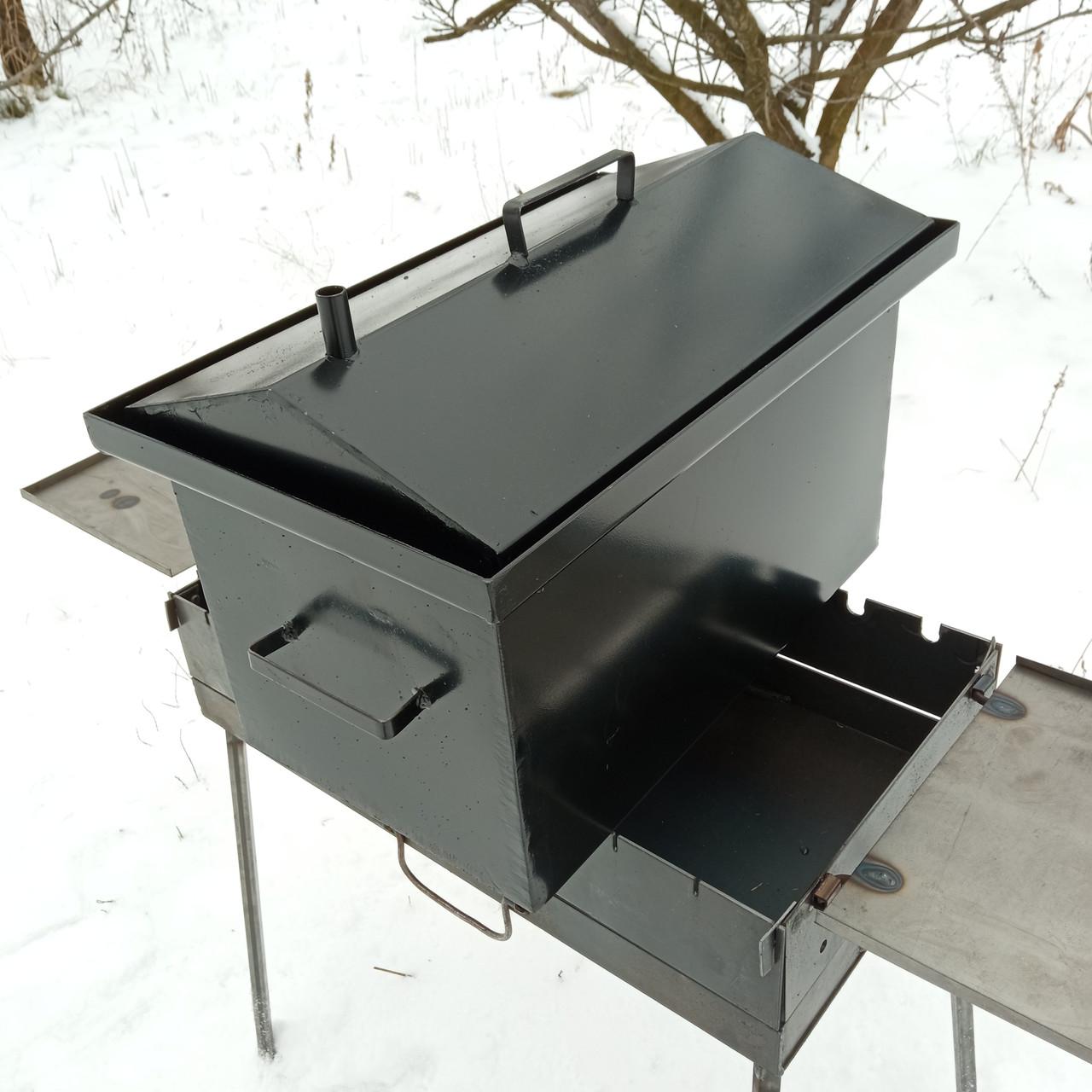 Коптильня горячего копчения 2мм, 520x320x340 домик, черная