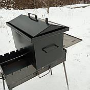 Коптильня горячего копчения 2мм, 520x320x340 домик, черная, фото 3