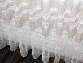 """Готова тюль (3х2,5м) льон полоси, колекція """"Монреаль"""", колір молочний з кофейним Код 684т 40-342"""