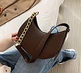 Мини сумка клатч, Женская сумка кросс-боди, маленькая сумочка через плечо для девушек крокодил, фото 3