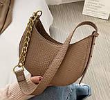 Мини сумка клатч, Женская сумка кросс-боди, маленькая сумочка через плечо для девушек крокодил, фото 4