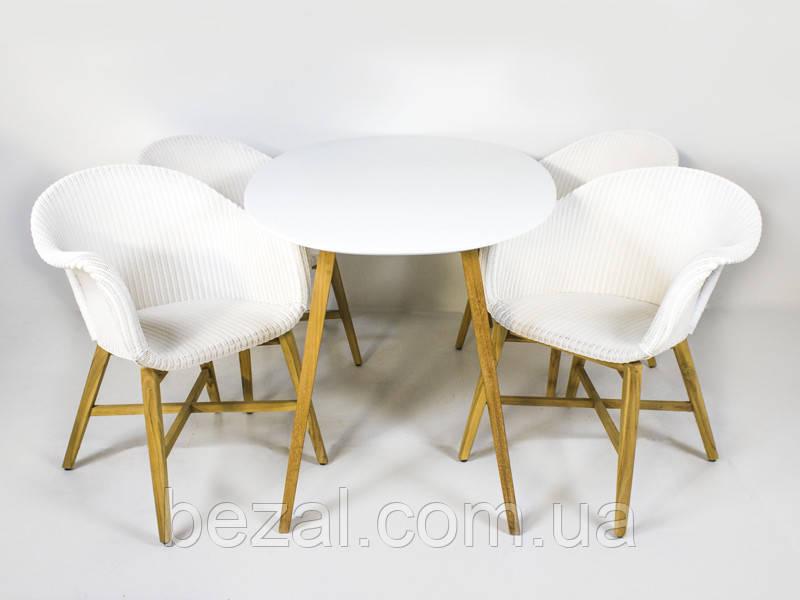 Обідній комплект Віола (стіл 4-6 стільців) твк, білий kt201020201 Стіл + 4 стільця