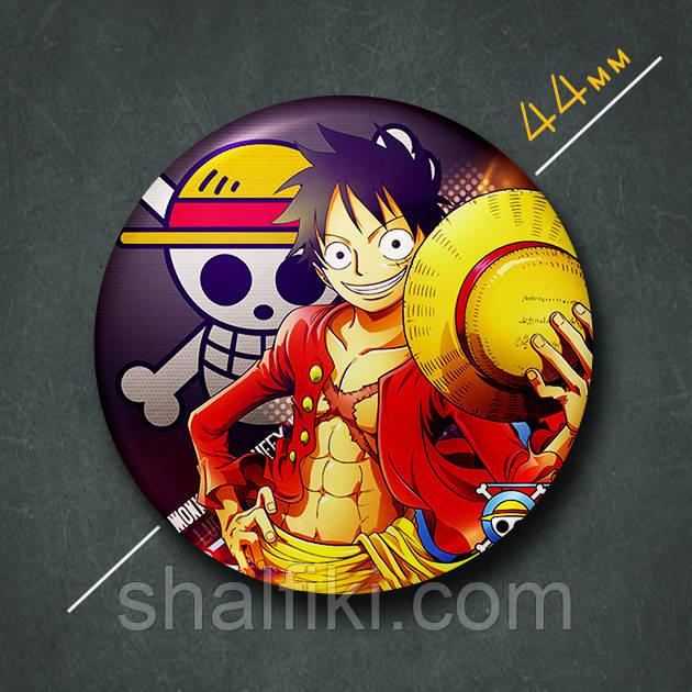 """Манки Д. Луффи (Ван Пис / One Piece)"" значок круглый на булавке Ø44 мм"