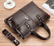 Мужской деловой портфель для документов формат А4 мужская сумка для планшета ноутбука бумаг Темно-коричневый