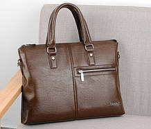 Мужской деловой портфель для документов формат А4 мужская сумка для планшета ноутбука бумаг Светло-коричневый
