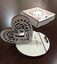 """Подставка для телефона """"Валентинка"""" белая + подарочная коробка. Подарок на день св. Валентина"""