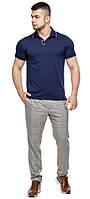 Брендовая футболка поло мужская цвет темно-синий-серый модель 6093