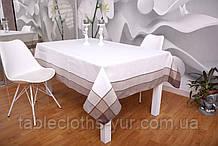Скатерть Лен 150-220 Белая с коричневыми краями
