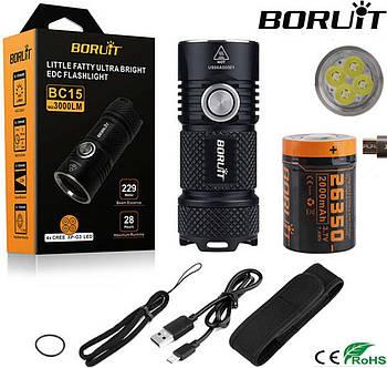 Мощнейший EDC Фонарь BORUIT BC15 (3000 люмен, 4*XPG3 led, IP68, USB Battery 26350*2000mAh) Mini Flashlight