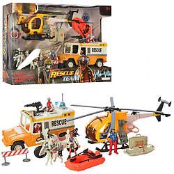 Детский игровой набор Спасатели с вертолетом и джипом. Интересный подарок мальчику от 3 лет