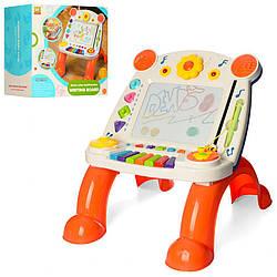 Детский игровой центр-столик 3 в 1 с пианино и доской для рисования. Подарок детям от 3 лет