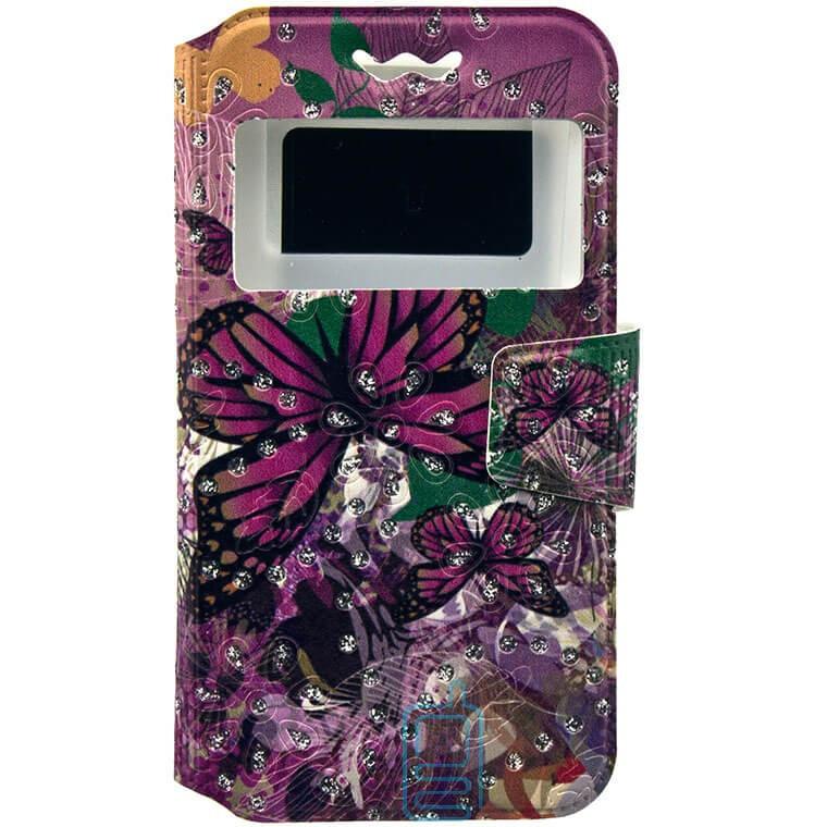 Универсальный чехол-книжка 1 окно print 5.8-6.0 butterfly pink