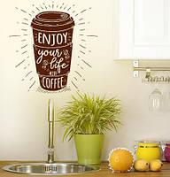 Вінілова наклейка Enjoy (кава життя написи текст декор для кав'ярні) матова 935х970 мм