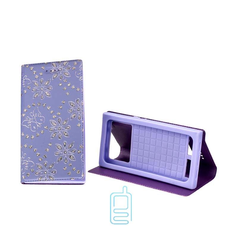 Универсальный чехол-книжка стразы без окна 3.5-3.7″ 6#-XS фиолетовый