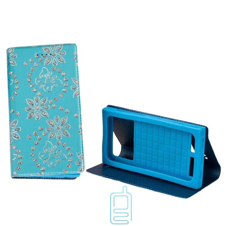 Универсальный чехол-книжка стразы без окна 5.5-5.7″ 1#-XXL голубой