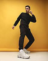 """Стильный очень теплый мужской спортивный костюм """"Soul"""" черный (штаны+свитшот) - S"""